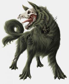 Cu Sith by Kikksi on DeviantArt Dark Creatures, Mythical Creatures Art, Weird Creatures, Fantasy Creatures, Creature Concept Art, Creature Design, Fantasy Wolf, Fantasy Art, Demon Dog