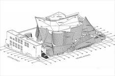 Axonometric drawing of Walt Disney Concert Hall Disney Hall, Walt Disney Concert Hall, Lillian Disney, Axonometric Drawing, Section Drawing, Frank Gehry, Layout, 10 Anniversary, 21st Century