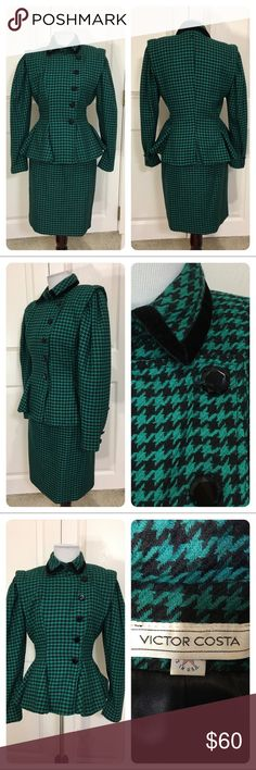Vintage Victor Costa houndstooth suit Striking vintage Victor Costa houndstooth suit. Figure flattering design. Velvet trim jacket. Peplum jacket. No material tag - guessing wool. No size tag - check measurements - will mark 2. No flaws noted. Victor Costa Skirts Skirt Sets
