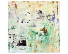 """Original Abstract painting by Dallas artist Paul Ashby. Abstract oil painting on board with a confetti mix of colors including turquoise, orange, violet, black & white. 12"""" X 12"""" square on birch plywood panel, ready to hang!"""