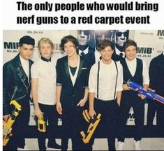 That is incredible... I'm sure my brother will have the time of his life if he hangs out with one direction and nerf guns on their hands... He just loves nerf guns.