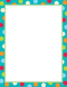 Creative Teaching Press Dots on Turquoise Computer Paper Picture Borders, Page Borders, Computer Paper, Printer Paper, Borders For Paper, Borders And Frames, Classroom Borders, Classroom Décor, Student Binder Covers