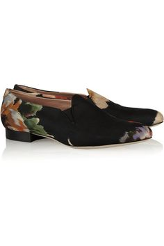 Acne | Noa floral-print canvas loafers