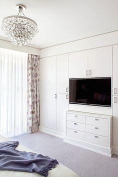 Built In TV Niche, Transitional, bedroom, Blair Harris Interior Design