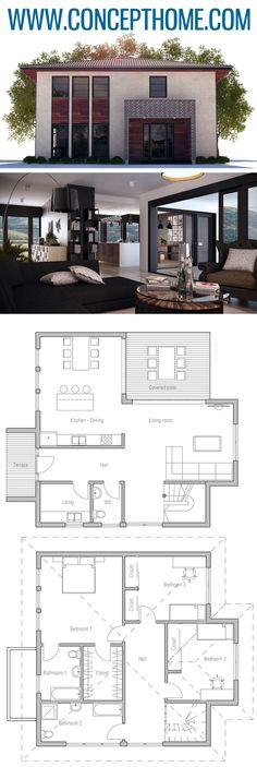 Small House Plan, Home Plans, House Plans New House Plans, Modern House Plans, Small House Plans, House Floor Plans, Minimalist Architecture, Architecture Design, Plans Architecture, Apartment Design, Apartment Therapy