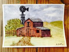 Barn #2 in watercolor