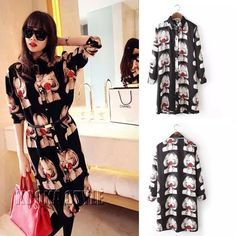 Women's Korean Fashion Printed Shirt Dress Evening Party Club Dresses Blouse Top #DL #ShirtDress #Cocktail