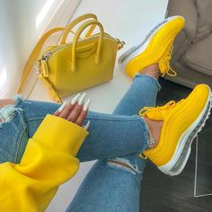 Nike Air Max 97 air cushion yellow - Sneakers Nike - Ideas of Sneakers Nike - business days process before shipping Yellow Sneakers, Yellow Nikes, Gold Sneakers, Sneakers Mode, Sneakers Fashion, Yellow Shoes Outfit, Latest Sneakers, Yellow Shoes Womens, Yellow Trainers