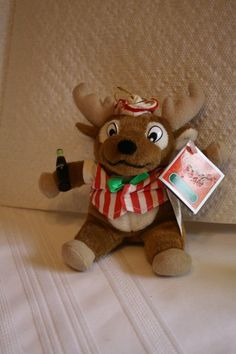 """Coca Cola plush deer in vest & hat ornament with tag $7 measures approx: 5.5"""" x 5"""""""