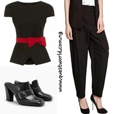 Bow Top size 10 #5500 Pleat Front Trousers size 8 #6500 Next Loafer Mules size 7/41 #15000 www.questworld.com.ng  www.konga.com/QUEST-WORLD-BOUTIQUE