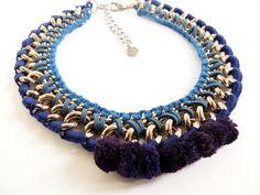 Collar necklace short necklace pom pom jewelry by JewelryLanChe