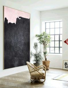 Black and Pink Minimal Painting MN31B by Celine Ziang Art (CZ Art Design), Hand painted vertical abstract art.