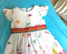 Toddlers girls designer's cotton dress Michael Miller