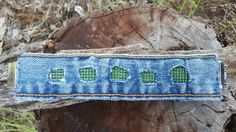 Upcycled Denim Bracelet with Green Bling and by DenimReDooz
