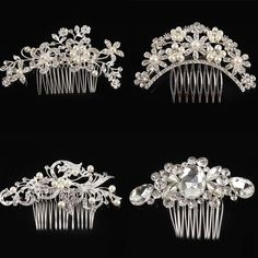 4 Kinds Of Styles Tiaras Hair Jewelry Women Flower Crystal Rhinestone Pearls Hair Clip Wedding Bridal Accessories Headwear-0024