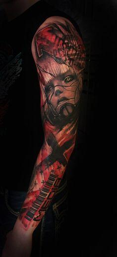 trash polka reaistic tattoo