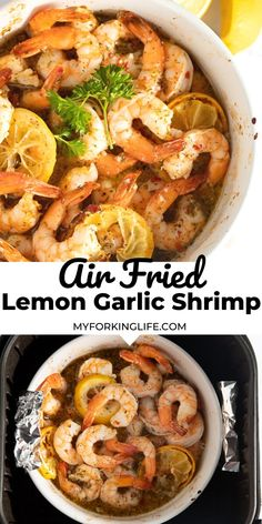This air fryer lemon garlic shrimp is so wonderfully fresh and flavorful and you can cook the shrimp straight from frozen. So quick and easy to make perfect to serve as an appetizer or as part of a main course. Frozen Cooked Shrimp, Frozen Shrimp Recipes, Cooked Shrimp Recipes, Seafood Recipes, Flounder Recipes, Air Fryer Dinner Recipes, Air Fryer Recipes Easy, Spaghetti Bolognese, Air Fryer Fried Shrimp Recipe