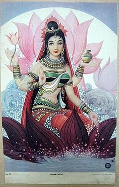 Lakshmi. She epitomises grace, beauty, bounty and good fortune. Always depicted with the lotus, a symbol of purity and growth