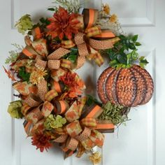 Fall Pumpkin Wreath for your front door.