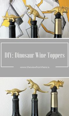 http://theviewfromhere.is    DIY Dinosaur Wine Toppers Dinosaur Crafts, Bee Crafts, Love Craft, Craft Tutorials, Craft Projects, Creative Inspiration, Group Boards, Diy Home Decor, Decor Crafts