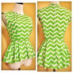 Frankenpattern: DiY Chevron Peplum Top Vogue Patterns 8815 Top + Simplicity Pattern 1650 Dress