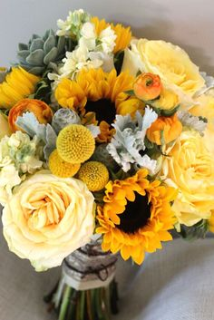 yellow sunflower wedding flower bouquet, bridal bouquet, wedding flowers, add pic source on comment and we will update it. can create this beautiful wedding flower look. Yellow Wedding Flowers, Flower Bouquet Wedding, Yellow Roses, Bridal Bouquets, Yellow Weddings, Wedding Bouquets With Sunflowers, Sunflower Weddings, Ivory Roses, Purple Wedding