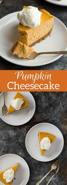 ***Pumpkin Cheesecake ~ you will love this creamy pumpkin cheesecake! It rests on a thick gingersnap crust and is topped with fluffy swirls of sweet whipped cream.