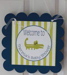 "Alligator Green White and Navy ""It's a Boy"" Baby Shower Polka Dot Stripe Banner - Free Ship Over 40.00. $25.00, via Etsy."