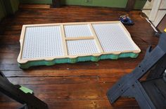 how to-tuffted headboard 2. totaly smart move using pegboard as backer for tuffted headboard. Garage Tool Storage, Garage Tools, Old Wood Floors, Kitchen Pegboard, Playrooms, Craft Rooms, Diy Painting, Fine Motor, Diy Home Decor