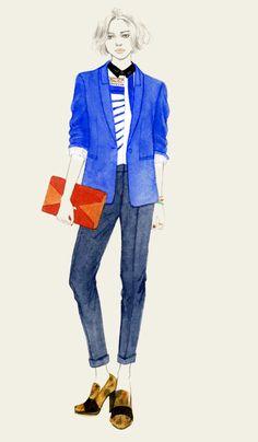 Stella McCartney Blazer, Dries Van Noten Shirt, Pant & Shoes, and of course, Celine Diamond clutch. by Teri Chung
