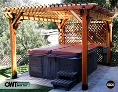 OZCO Building Products Ornamental Wood Ties - Freestanding Pergola with Spa