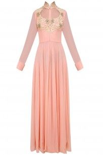 Pale Pink Floral Embroidered Floor Length Gown #ridhiarora # perniaspopupshop #shopnow