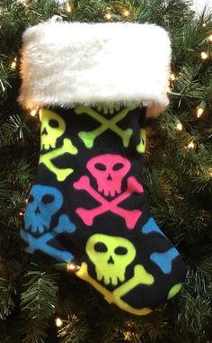 "Handmade Christmas Stocking 15"" Fleece Neon Skulls /Each Unique Due To Pattern    eBay"