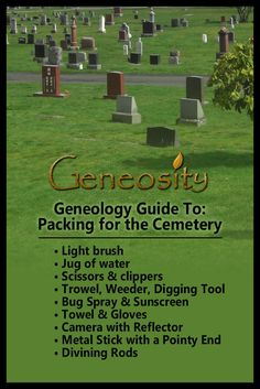 Genealogy guide to packing for the cemetery. Items that are ideal to pack when making a family research trip to a cemetery. AND FLOUR! Genealogy Chart, Genealogy Research, Family Genealogy, Genealogy Sites, Genealogy Organization, Organizing, Free Family Tree, Family Trees, Family Tree Research