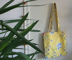 Vintage cotton tote bag yellow  flower fabric by PugParadiseCafe