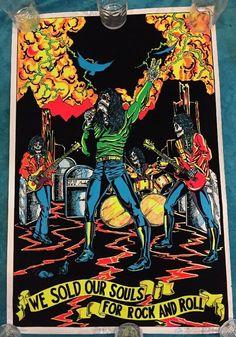 VTG 1981 BLACK SABBATH WE SOLD OUR SOULS Black Light Velvet-flocked Rock Poster