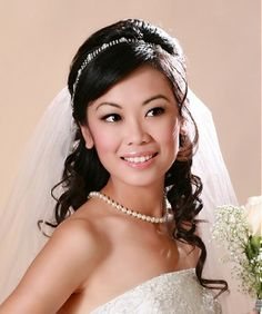 long black curly spiral ringlets asian wedding bridal hairstyles for women