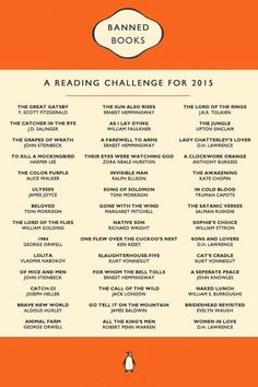 Banned books reading challenge - It was written for 2015, but better late than never, right? | Reading list | Book challenge