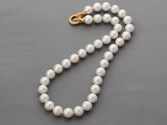 bjbead.com for 11-12mm White Freshwater Pearl Beaded Knotted Necklace with Gold Plated Clasp