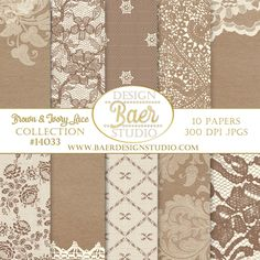 Thanksgiving digital backgrounds for creating menus, scrapbook layouts, cards, invites, stickers and more. Brown and Ivory Lace Digital Paper- Instant Download-#14033