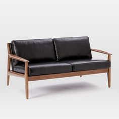 Mathias Midcentury 2-Seater Sofa, Leather, Black