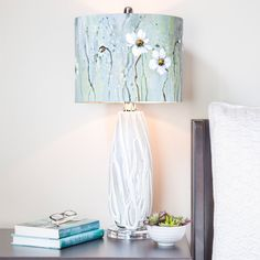 River of Goods Impressionist Collection Jasmine Flower Painted Shade 28.5-inch H Table Lamp