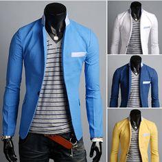 Men's Blue Collar Mandarin Blazer