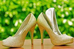 Ambi Platform Convertible Heels- Gold Glitter $99 Matching pump and flat shoe