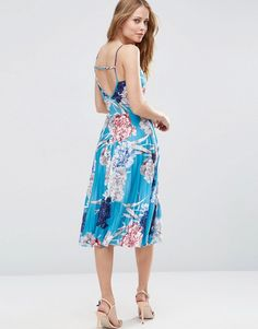 ASOS Strappy Back Wrap Front Pleated Printed Midi Dress