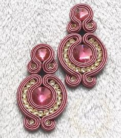Fabric Jewelry, Boho Jewelry, Jewelery, Soutache Necklace, Tassel Earrings, Handmade Beaded Jewelry, Earrings Handmade, Silk Ribbon Embroidery, Shibori