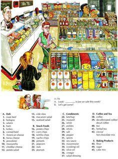 Supermarket vocabulary for deli, snack foods, coffe tea