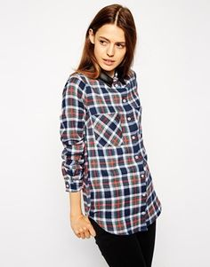 ASOS Check Shirt with PU Collar