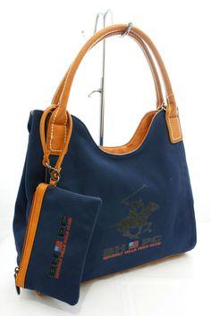 Borsa Shopping con Tracolla Beverly Hills Polo Club Art. BH-151 in Tela Blu