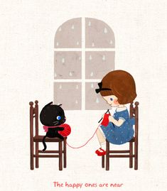 So cute we wish that would be true, that the cat helps instead of messing with the yarn. loll.. :-)